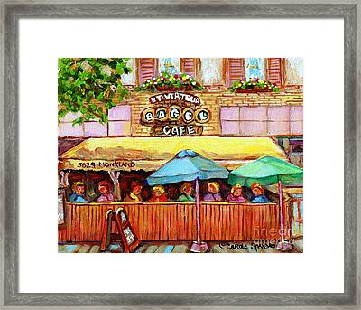 Charming French Cafe Scenes St Viateur Bagel Monkland Bistro Streets Montreal Paintings C Spandau Framed Print