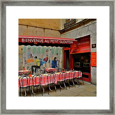 Charming French Outdoor Cafe Framed Print