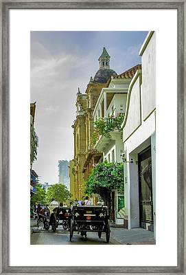 Charming Horse-drawn Carriages Take Framed Print