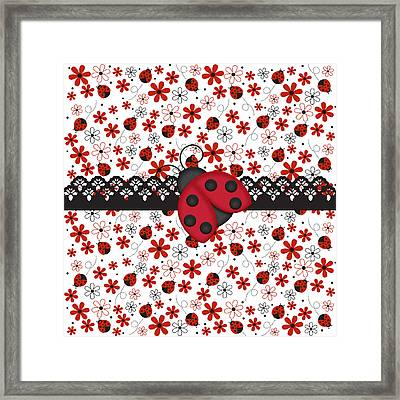 Charming Ladybugs Framed Print by Debra  Miller