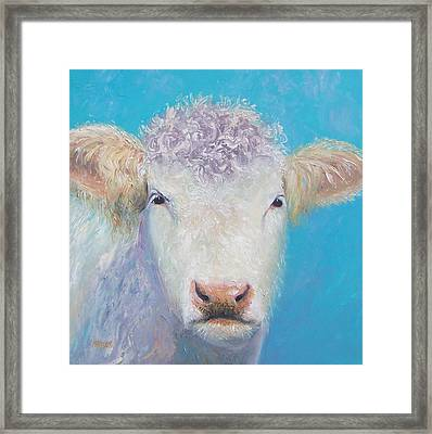Charolais Cow Painting By Jan Matson Framed Print