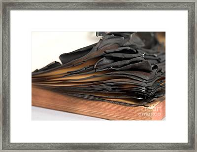 Charred Book Pages Framed Print by Oote Boe