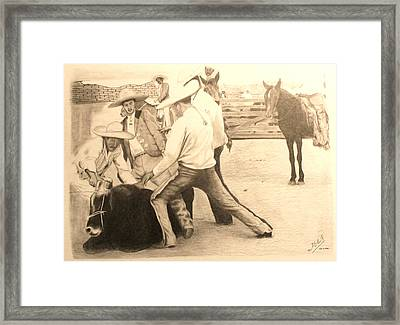 Charreria Framed Print by Miguel Rodriguez