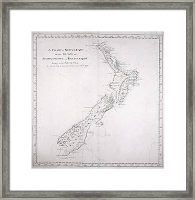 Chart Of New Zealand Framed Print by British Library