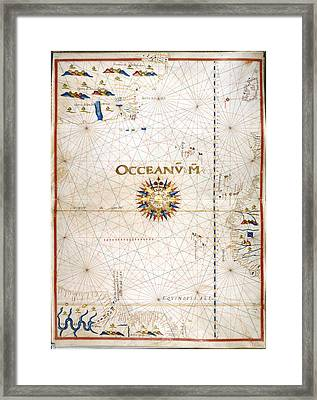 Chart Of The Atlantic Ocean Framed Print by British Library