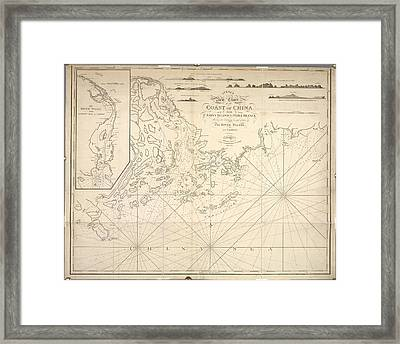 Chart Of The Coast Of China Framed Print by British Library