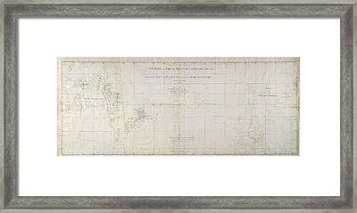 Chart Of The South Pacific Ocean Framed Print by British Library