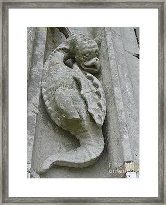Framed Print featuring the photograph Chartres Cathedral Dragon by Deborah Smolinske
