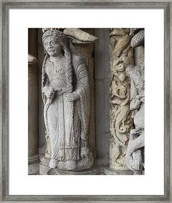 Framed Print featuring the photograph Chartres Cathedral Female Pilgrim by Deborah Smolinske