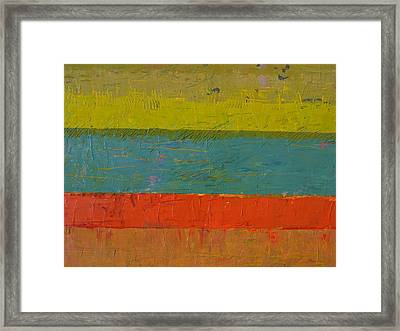 Chartreuse And Blue With Orange Framed Print