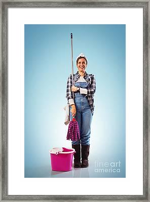 Charwoman On Blue Framed Print