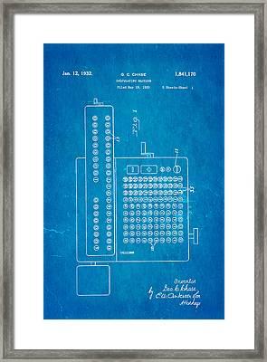 Chase Calculating Machine Patent Art 1932 Blueprint Framed Print