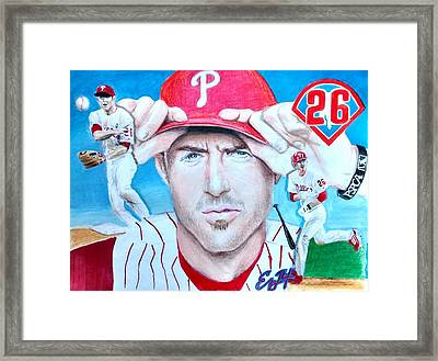 Chase Utley Framed Print by Ezra Strayer