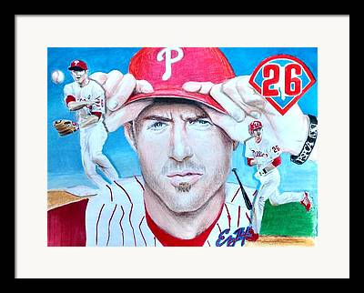 Chase Utley Mixed Media Framed Prints