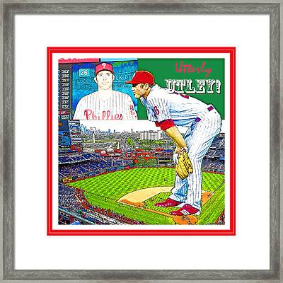 Chase Utley Poster Utterly Utley Framed Print by A Gurmankin
