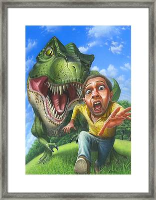 Chased By A Tyrannosaurus Rex Blank Greeting Card Framed Print by Walt Curlee