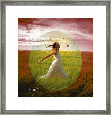 Chasing Butterflies Framed Print by Ted Azriel