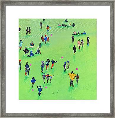Chasing The Pink Balloon Framed Print by Neil McBride