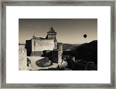 Chateau De Castelnaud With Hot Air Framed Print by Panoramic Images