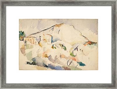 Chateau Noir And Mont Sainte Victoire  Framed Print by Paul Cezanne