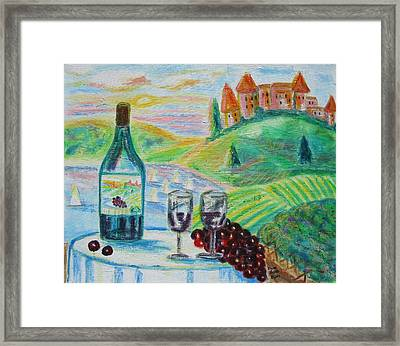 Chateau Wine Framed Print by Diane Pape