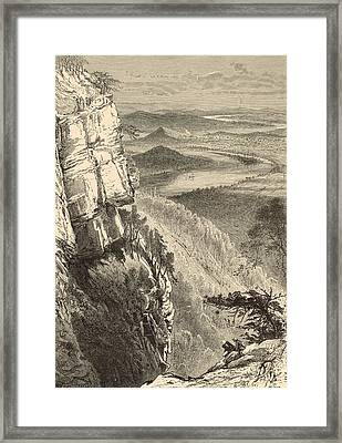 Chattanooga And The Tennessee From Lookout Mountain Framed Print by Antique Engravings