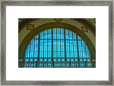 Framed Print featuring the photograph Chattanooga Train Depot Stained Glass Window by Susan  McMenamin