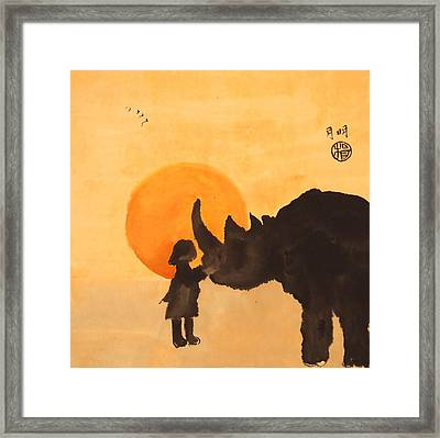 Chattering At Dusk Framed Print by Ming Yeung