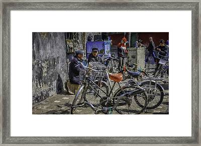 Chatting Amongst The Bikes Framed Print by Barb Hauxwell