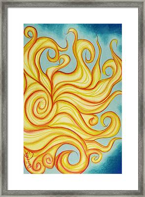 Framed Print featuring the pastel Chatting Sun by Susan Will