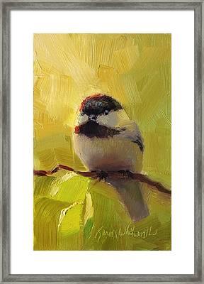 Chatty Chickadee - Cheeky Bird Framed Print by Karen Whitworth