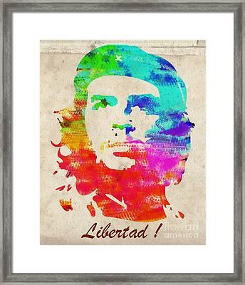 Che Guevara - Libertad Framed Print by T Lang
