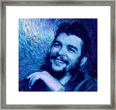Che Guevara Blue Framed Print by Shubnum Gill