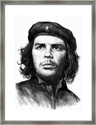Che Quevara Art Drawing Sketch Portrait  Framed Print by Kim Wang