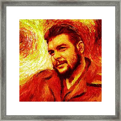 Che Red-yellow Framed Print by Shubnum Gill