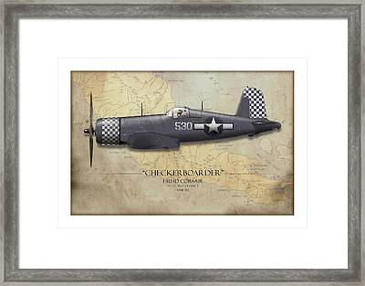 Checkerboarder F4u Corsair - Map Background Framed Print