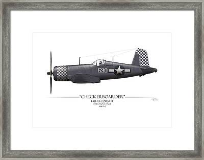 Checkerboarder F4u Corsair - White Background Framed Print