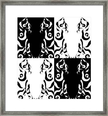 Checkered Cat Framed Print by Josephine Ring