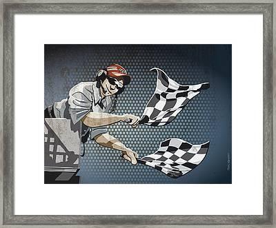 Checkered Flag Grunge Color Framed Print by Frank Ramspott