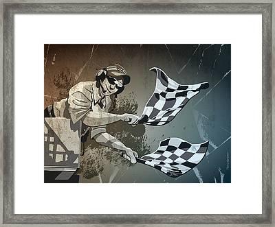 Checkered Flag Grunge Monochrome Framed Print