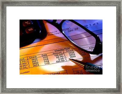 Checking Account Statement Framed Print by Olivier Le Queinec