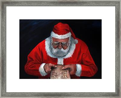 Checking It Twice Framed Print