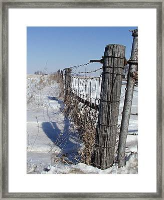 Checking The Fenceline Framed Print