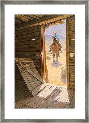 Checking The Line Cabin Framed Print