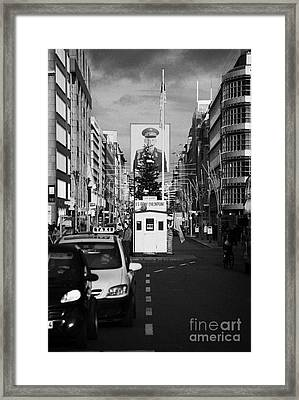 checkpoint charlie ersatz cabin reconstruction in the middle of Friedrichstrasse Berlin Germany Framed Print
