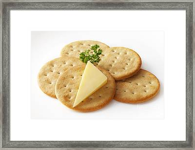 Cheddar Cheese And Crackers Framed Print by Colin and Linda McKie