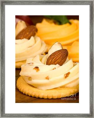 Cheddar Cheese On Crackers With Almonds Framed Print