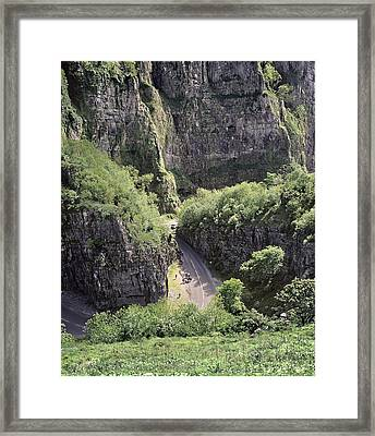 Cheddar Gorge And Road Framed Print by Science Photo Library