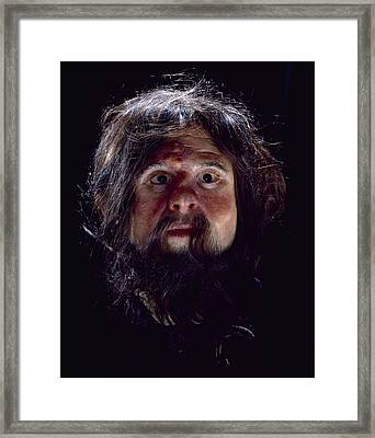 Cheddar Man Reconstruction Framed Print by Science Photo Library