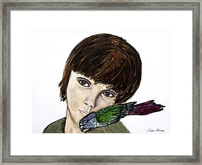 Cheek To Green Cheek Framed Print